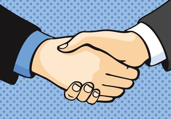 Cell shaded art of handshake on blue spotted background