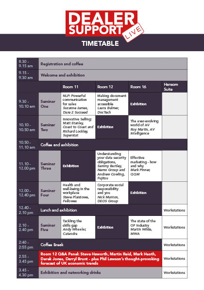 Dealer Support LIVE: Timetable announced!