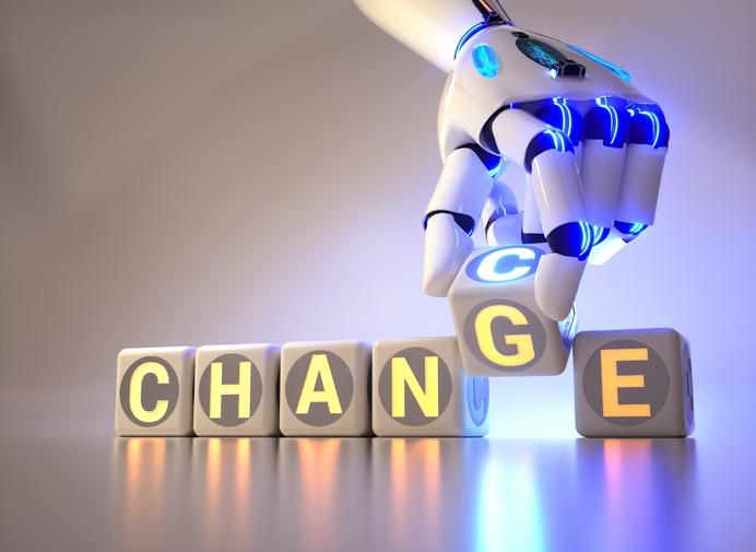 cyborg robot hand changes text cube – ai concept