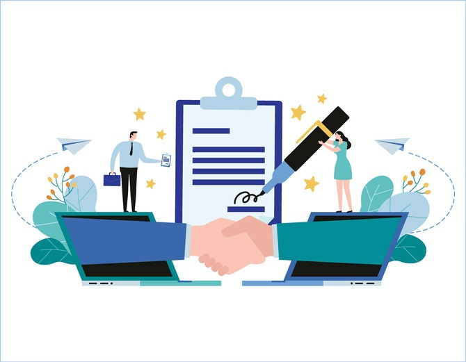 Hand shake and contract business Vector illustration banner. Partnership concept, businessman woman flat cartoon design for web mobile