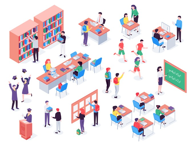 Isometric school. Children and teacher in classroom, students in schools library and education classroom vector 3d illustration set