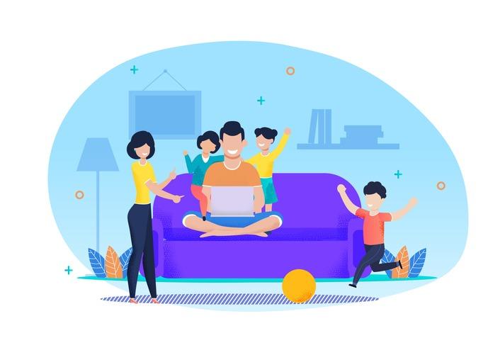 Work and Family Life Balance Flat Vector Cartoon