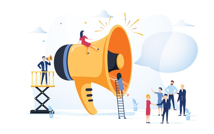 Business Advertising Promotion. Loudspeaker Talking to the Crowd. Big Megaphone and Flat People Characters Advertisement