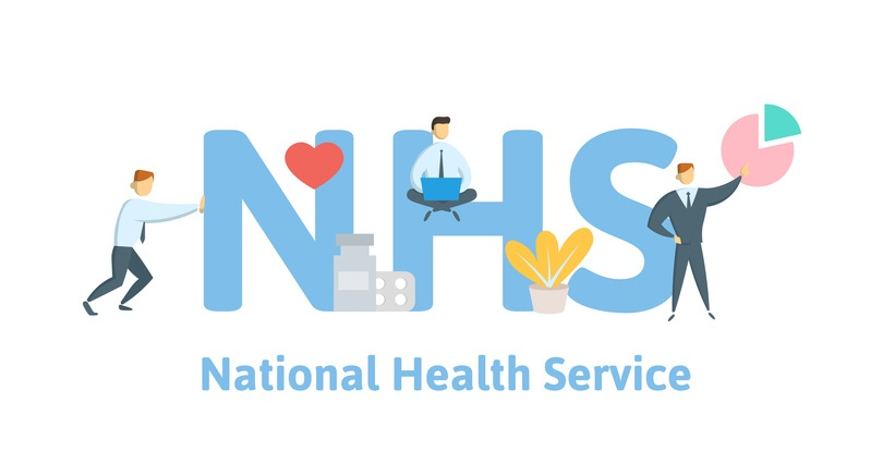NHS, National Health Service. Concept with keywords, letters and icons. Flat vector illustration on white background.