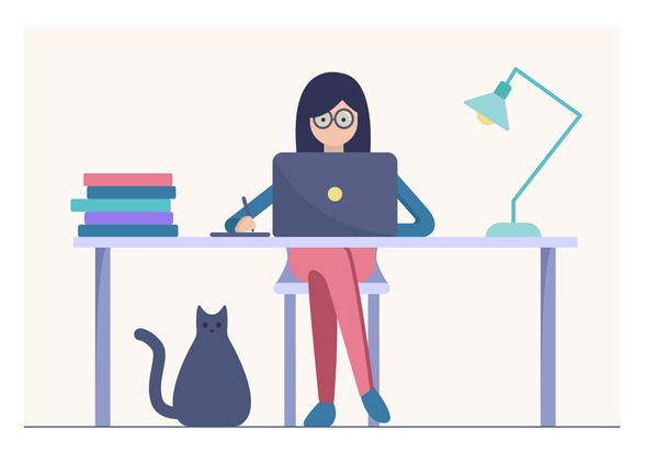 Woman work on the laptop vector illustration