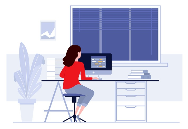 Workplace in office. Business woman working on computer at her desk. Vector illustration. Workspace.