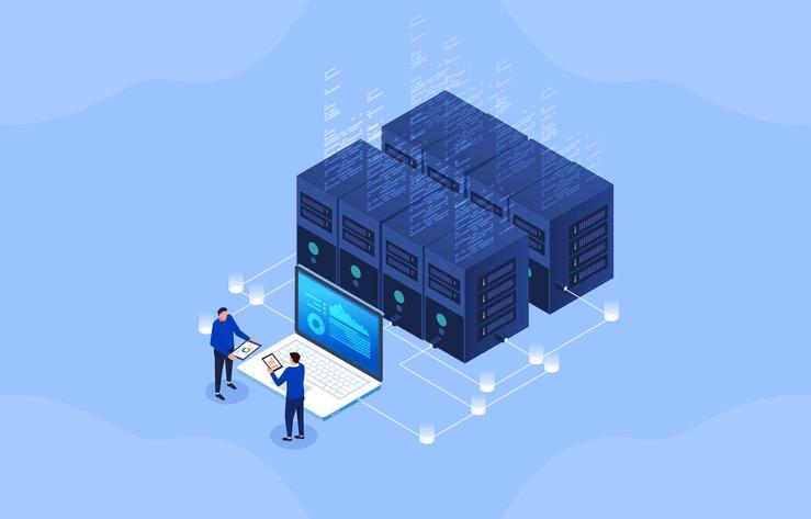 Server room, modern financial network technology, big data network visualization