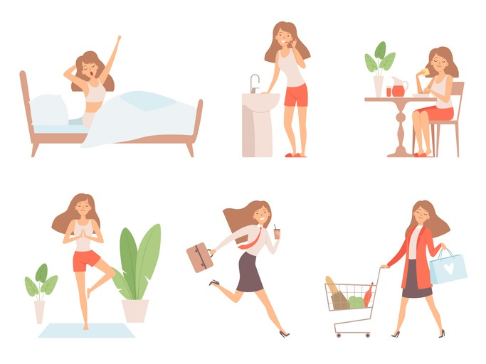 Woman daily routine. Business lady time management life every day process working mother vector cartoon characters