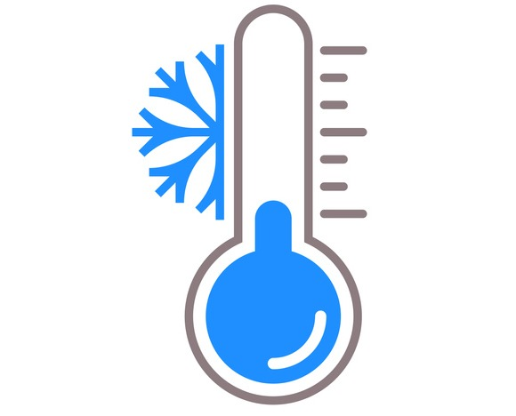 Thermometer vector icon with snow cold temperature scale for winter weather