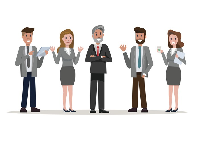 Confident business team standing enjoy talking in the office.