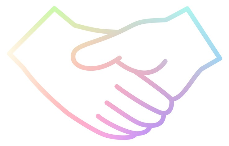 Handshake vector icon with a rainbow line
