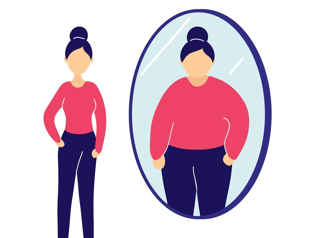slim-woman-seeing-herself-fat-in-mirror-vector-id1142896266