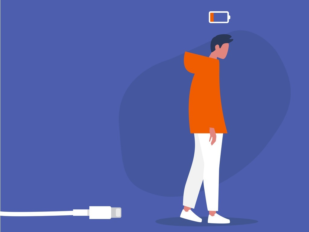 body-budget-low-battery-conceptual-illustration-young-exhausted-male-vector-id1203073376