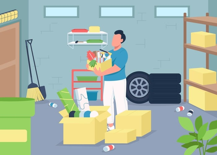 Garage cleaning flat color vector illustration