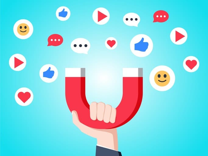 Cool flat design social media success and appreciation concept vector illustration. Hand holding magnet attracting likes