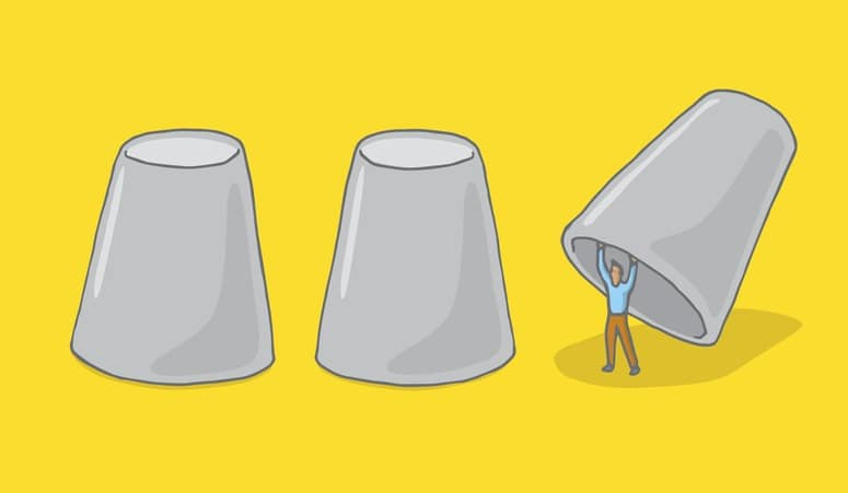 Man hiding under cups game