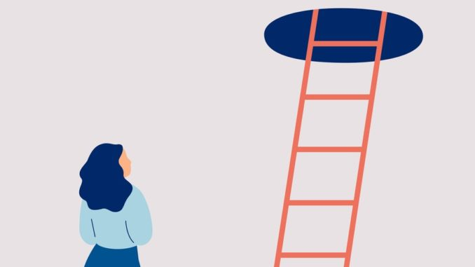 person looking at a ladder