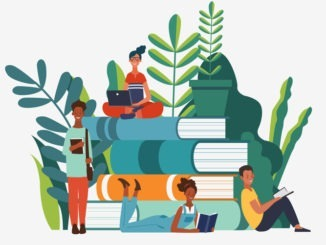 Plants growing around a book stack; children are working on laptops