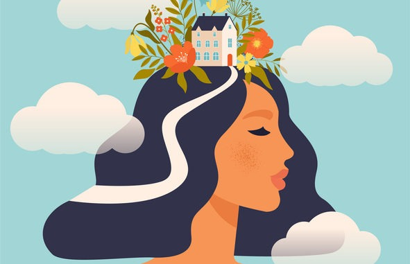 A calm person. Their head is a house with flowers growing.